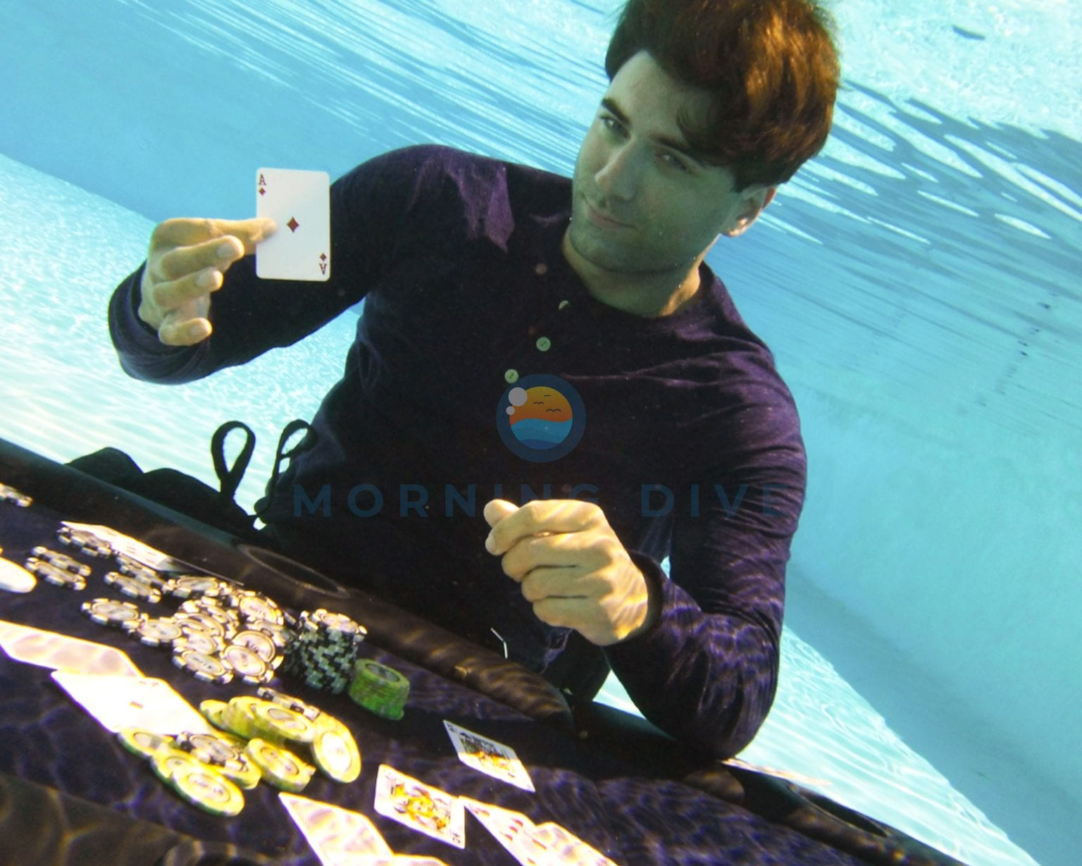 underwater photography poker player